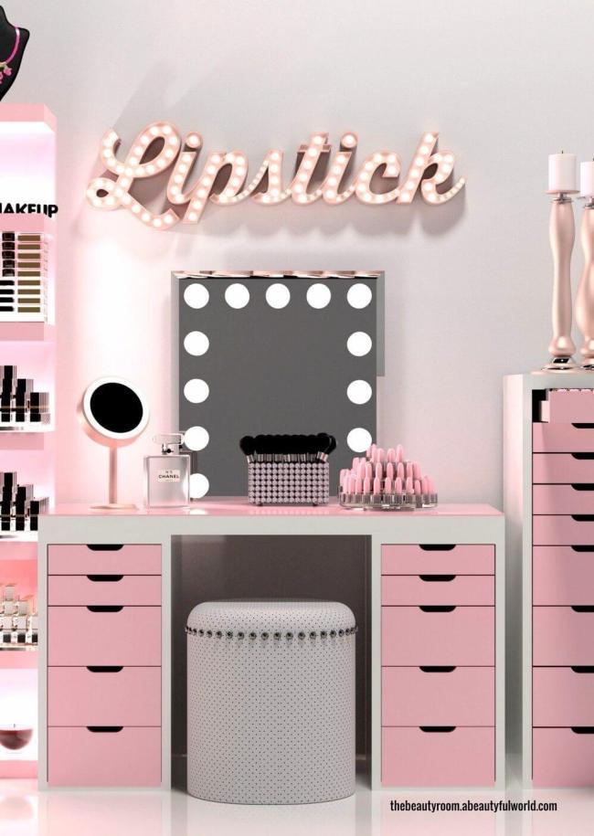 Spectacular makeup room design ideas #makeuproomideas #makeupstorageideas #diymakeuporganizer