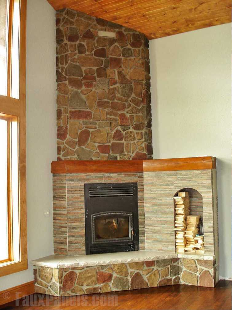 Unforgettable corner rock fireplace ideas #cornerfireplaceideas #livingroomfireplace #cornerfireplace