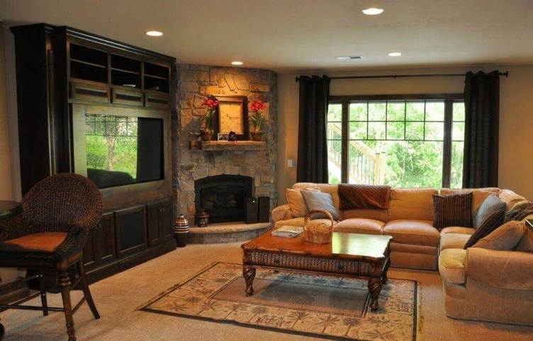 Unleash rustic corner fireplace ideas #cornerfireplaceideas #livingroomfireplace #cornerfireplace