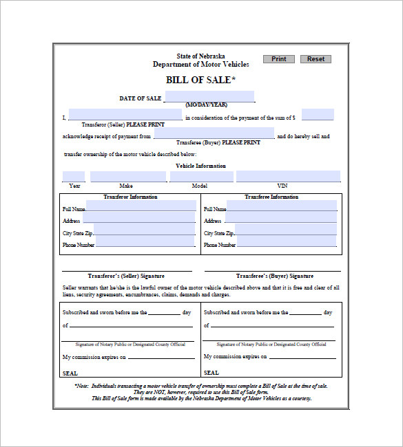 Bill Of Sale Example >> Free Bill Of Sale Form Template Vehicle Car Auto Dmv Bill Of Sale