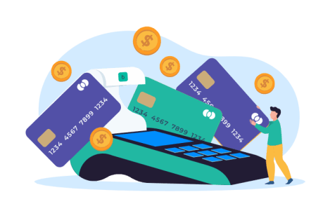 credit cards and coins, showing that credit card processing fees can add up to a lot of money