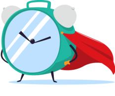 image of an alarm clock with a cape, posing like a superhero