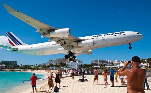 Planes landing on beach