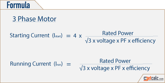 Three Phase Motor Full Load Amps Calculator
