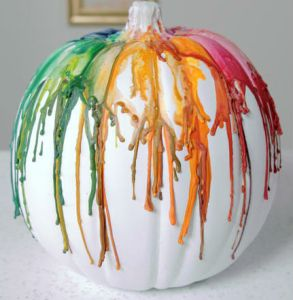 melted crayon pumpkin, pumpkin carving, halloween