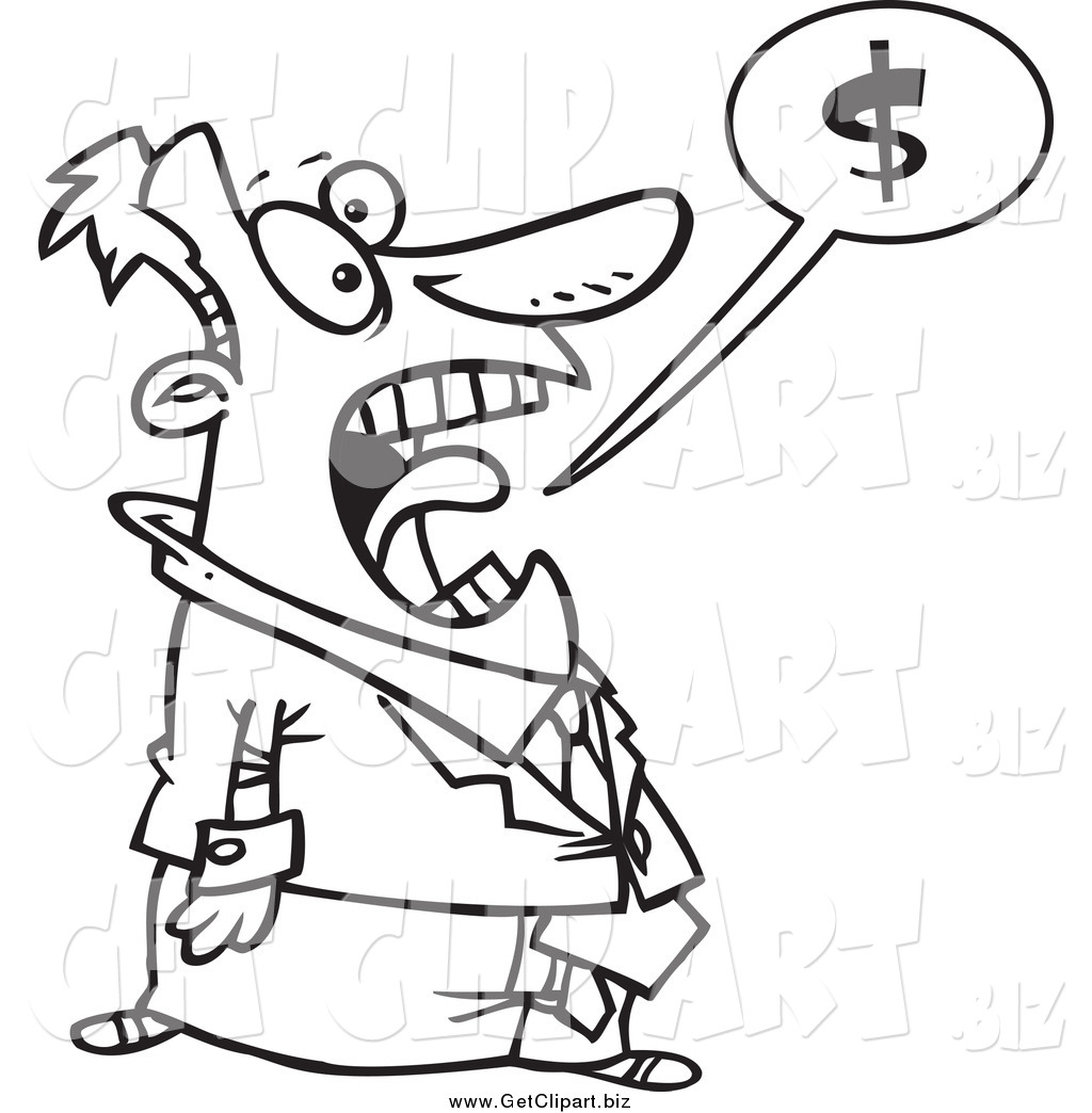Larger Preview Clip Art Of A Black And White Stressed