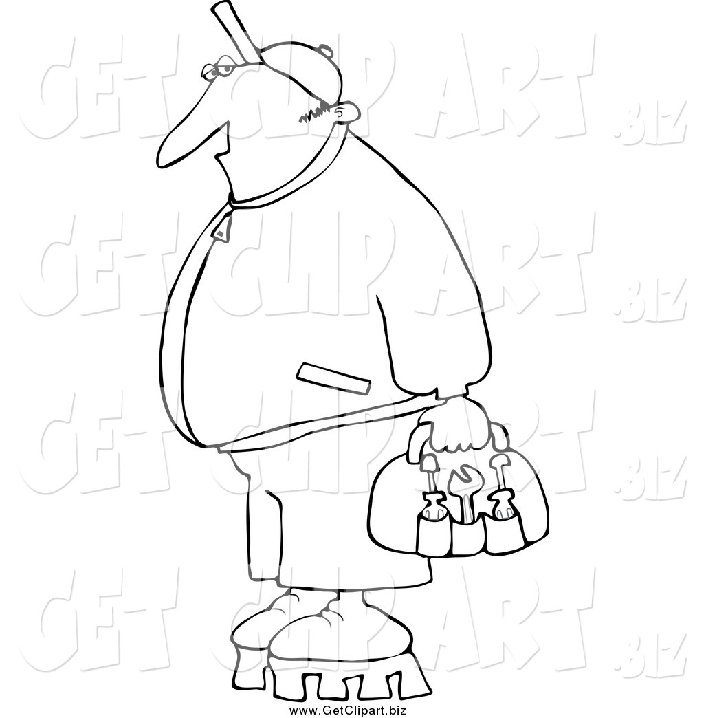 Larger Preview Clip Art Of A Black And White Worker Man
