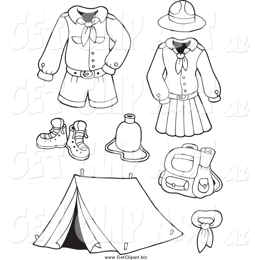 Clip Art Of Black And White Scout Uniforms And Gear