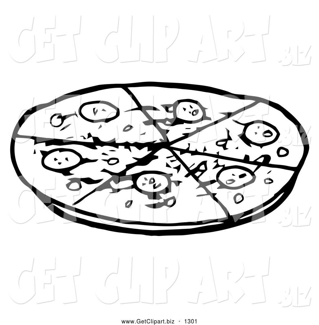 Clip Art Of Black And White Sliced Pepperoni Pizza Pie By