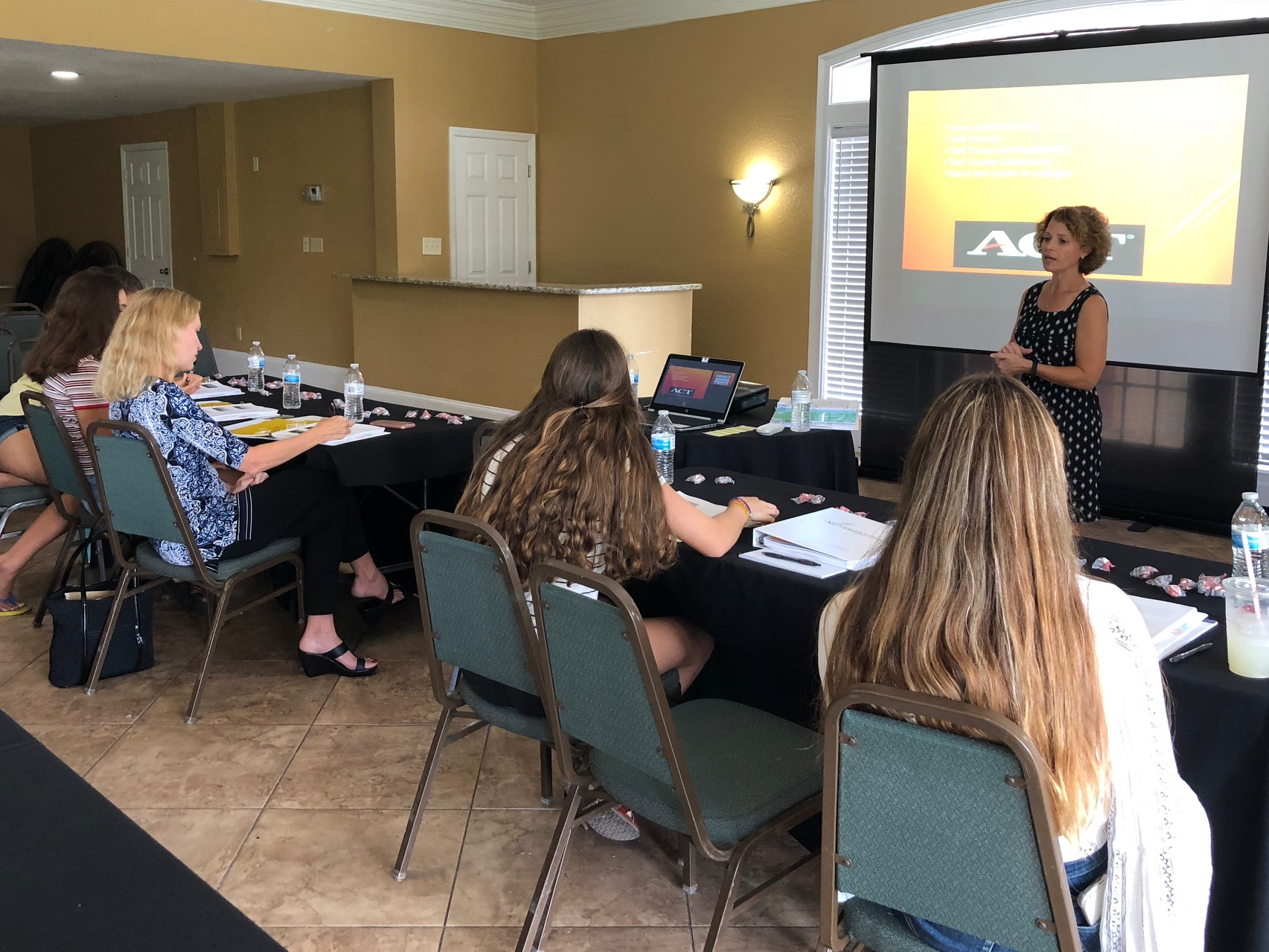 Tampa high school students learn about ACT/SAT test prep options during the Veritas College Counseling College Admissions Workshop on August 12, 2018.