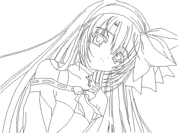 Printable Long Hair Anime Girl Coloring Pages Novocom Top