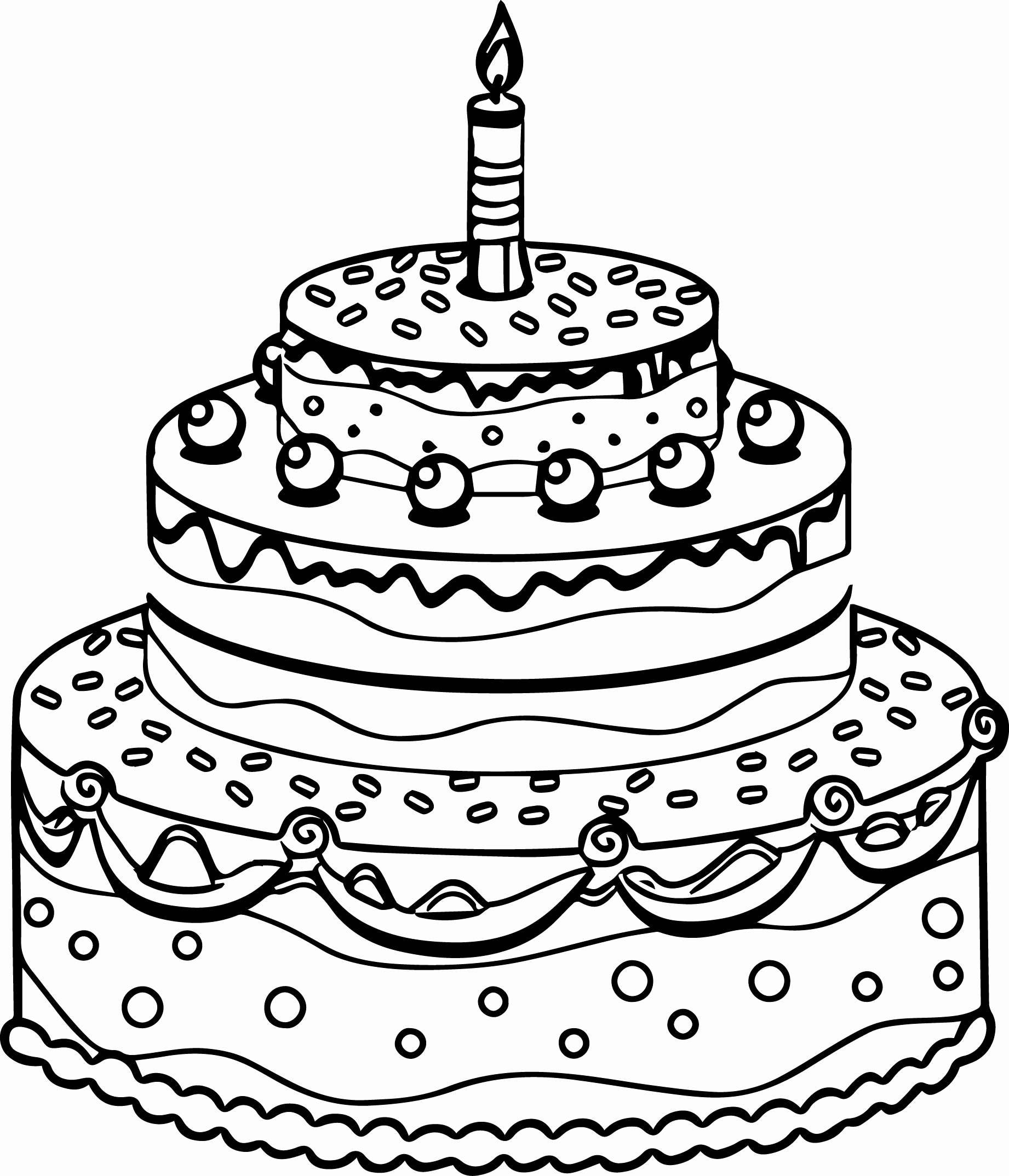 Birthday Cake Coloring Page At Getcolorings