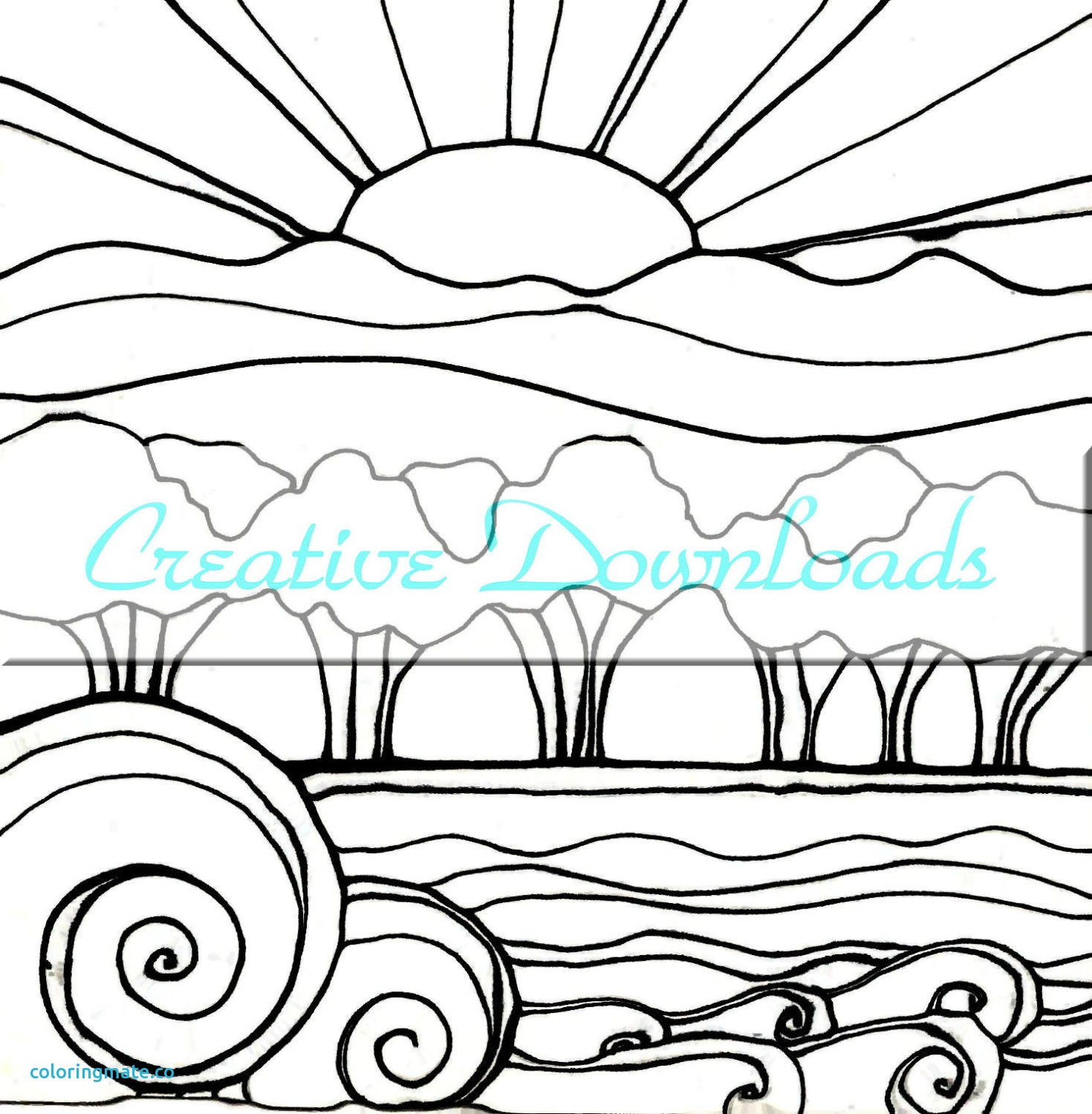 Coloring Pages Of Sunsets At Getcolorings