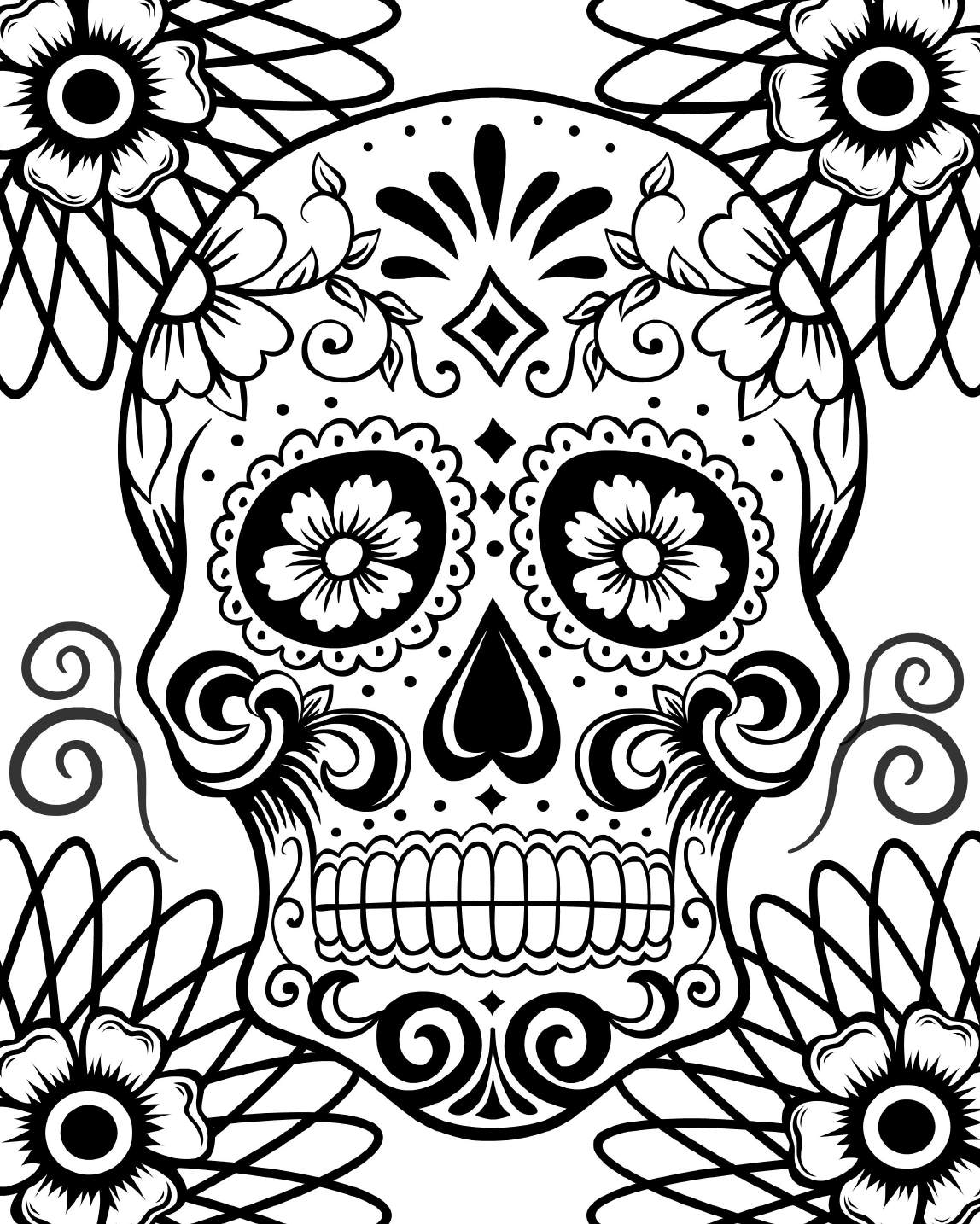 Day Of The Dead Sugar Skull Coloring Pages At Getcolorings