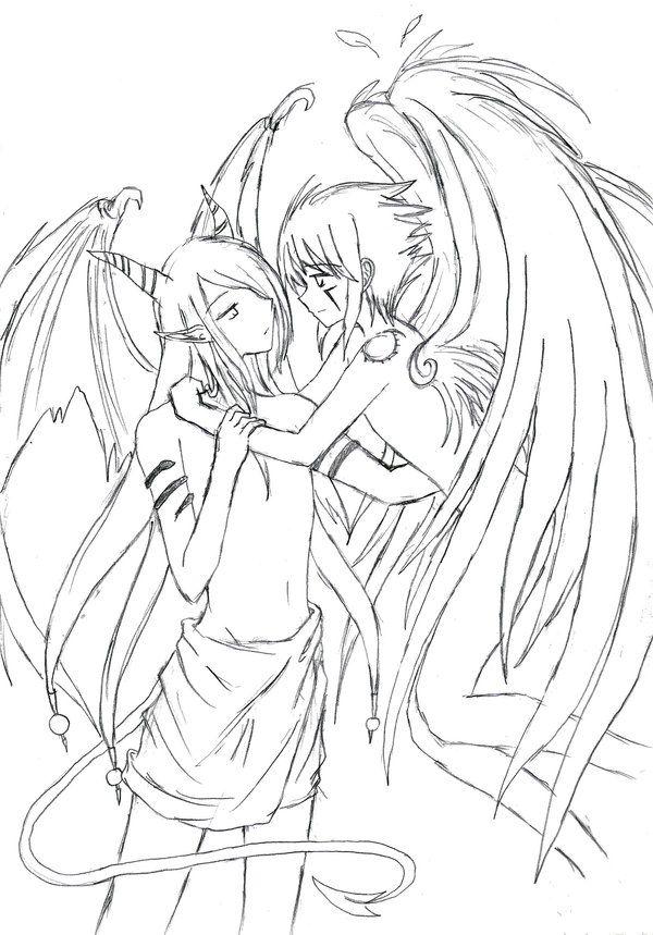 Fallen Angel Boy Anime Coloring Pages Novocom Top
