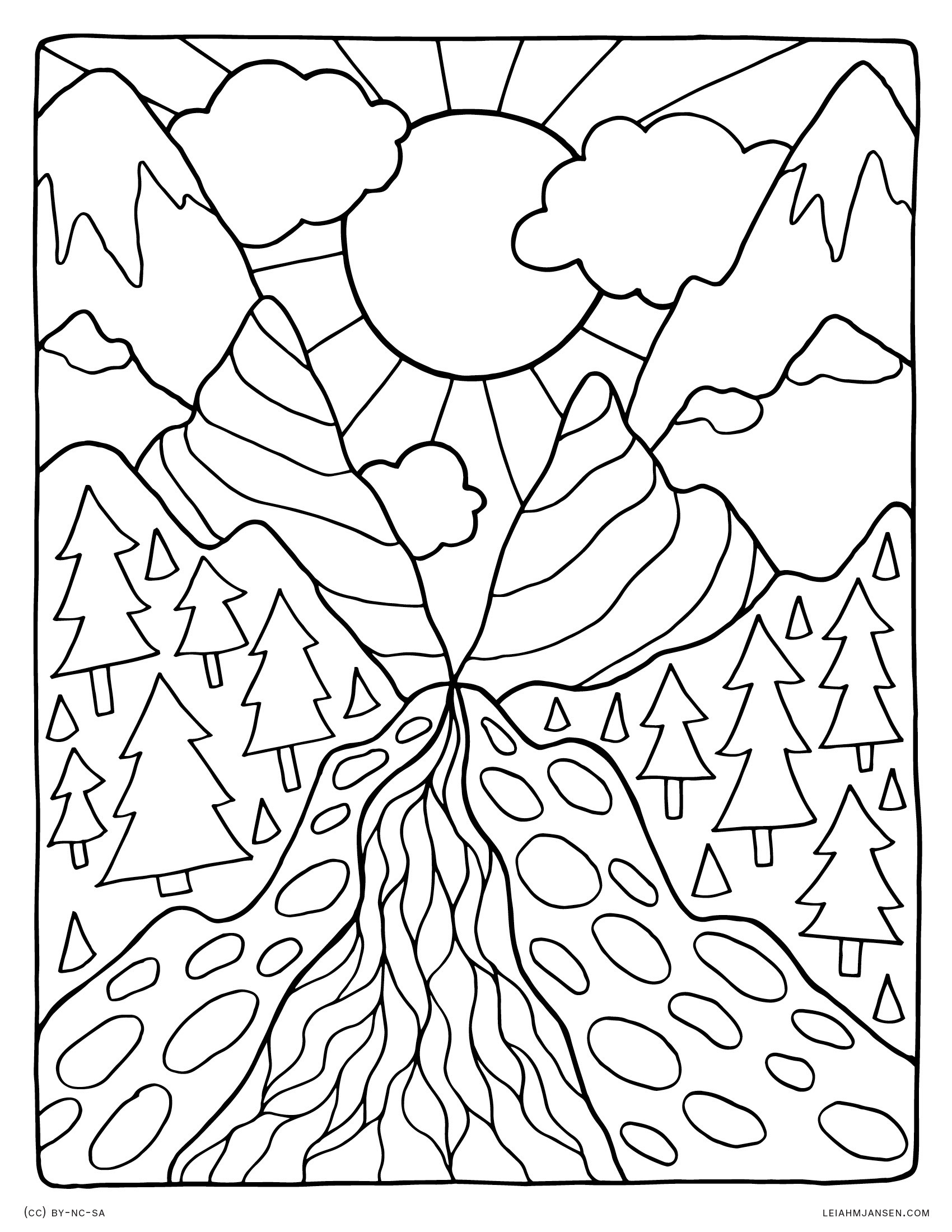 Detailed Landscape Coloring Pages For Adults At