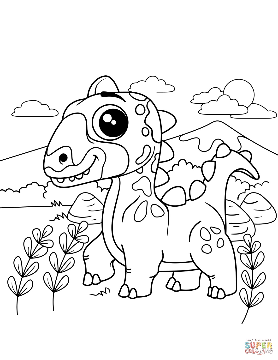 Easy Dinosaur Coloring Pages At Getcolorings