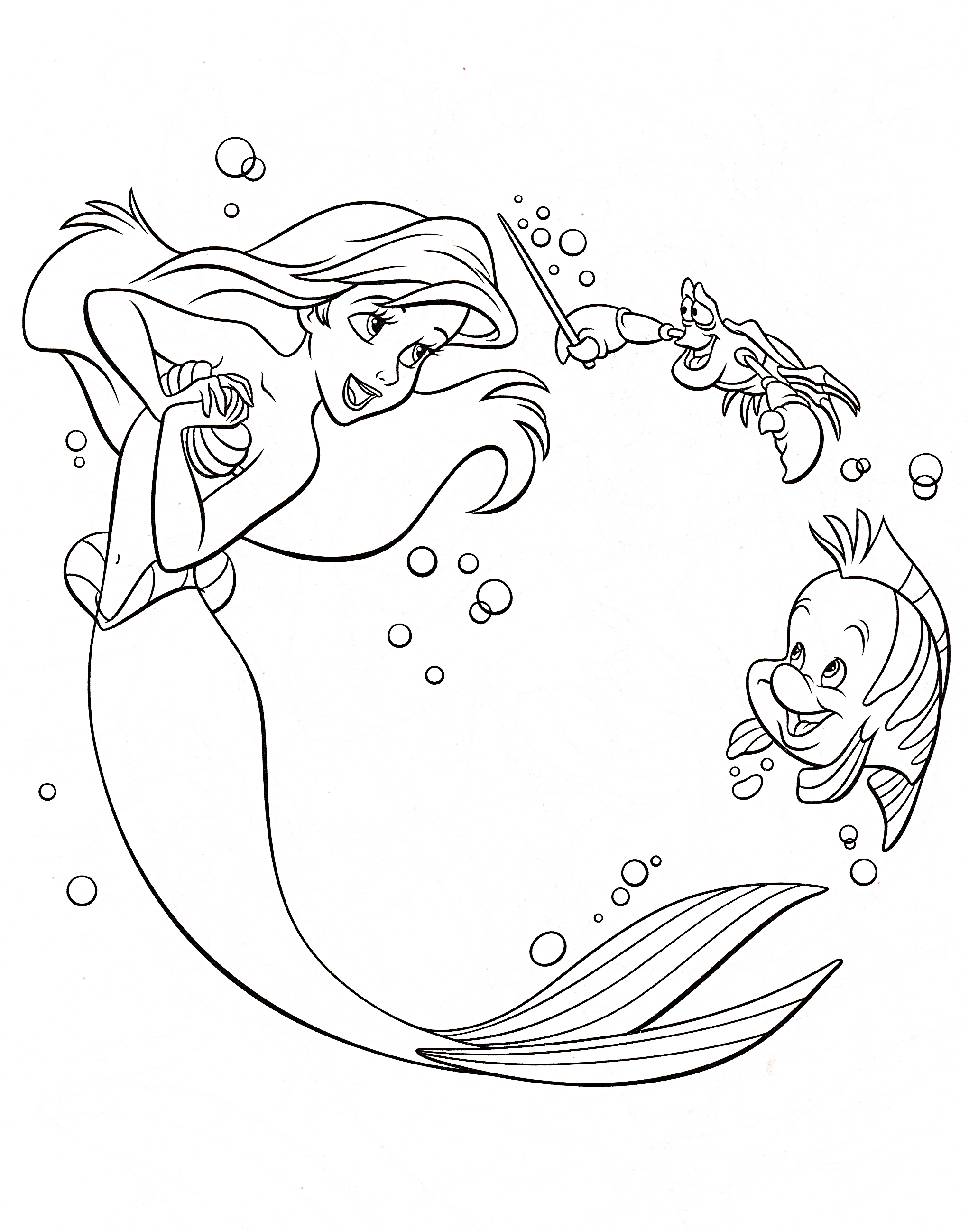 Flounder Coloring Pages From The Little Mermaid At