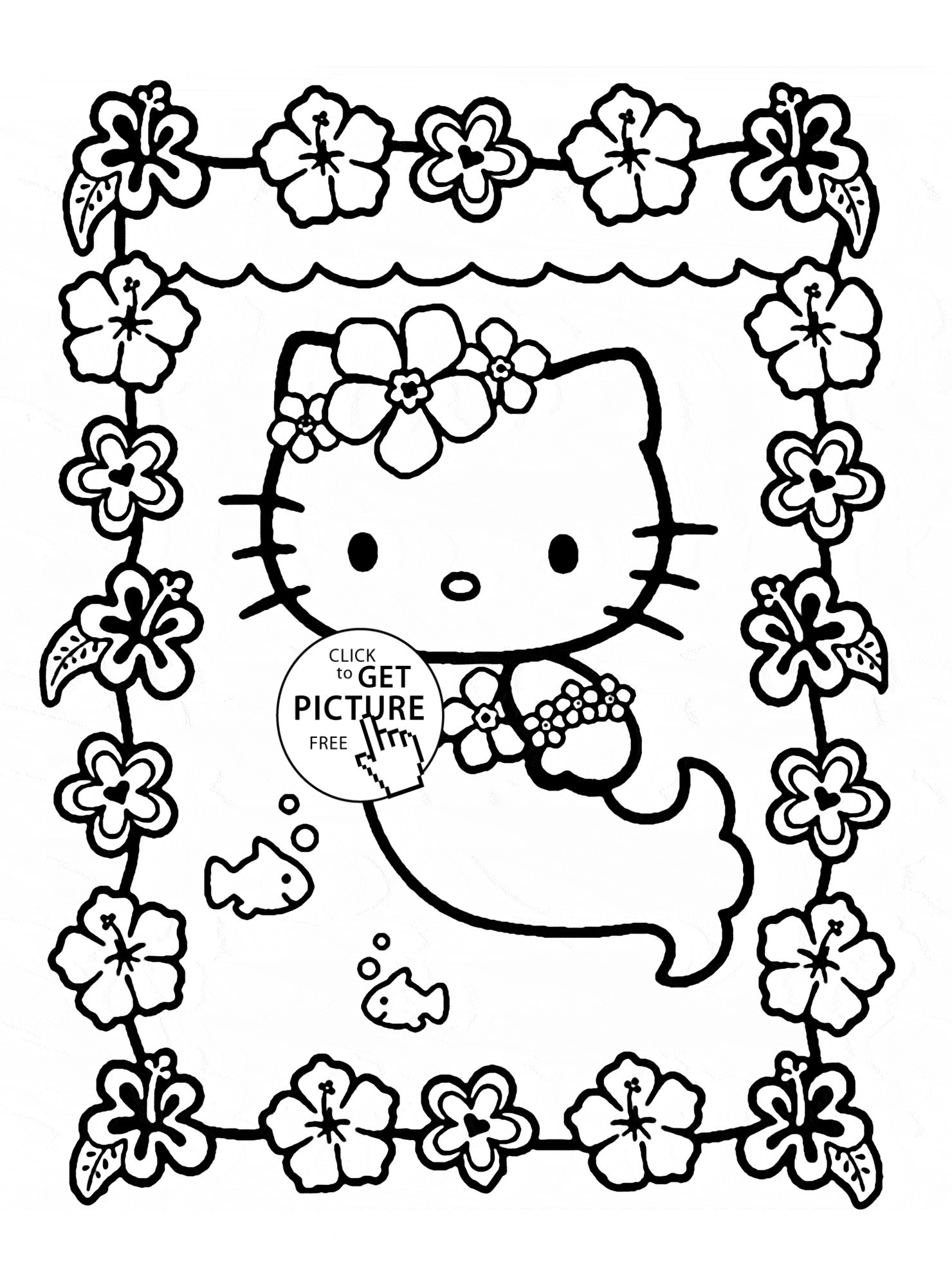 Mermaid Hello Kitty Coloring Pages At Getcolorings