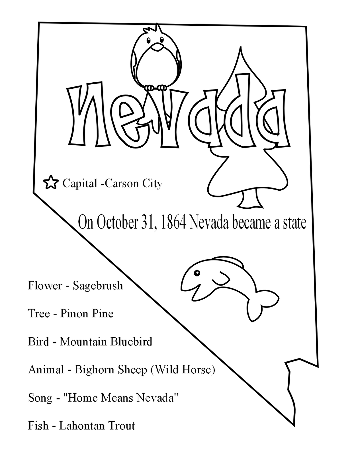 Nevada Coloring Page At Getcolorings