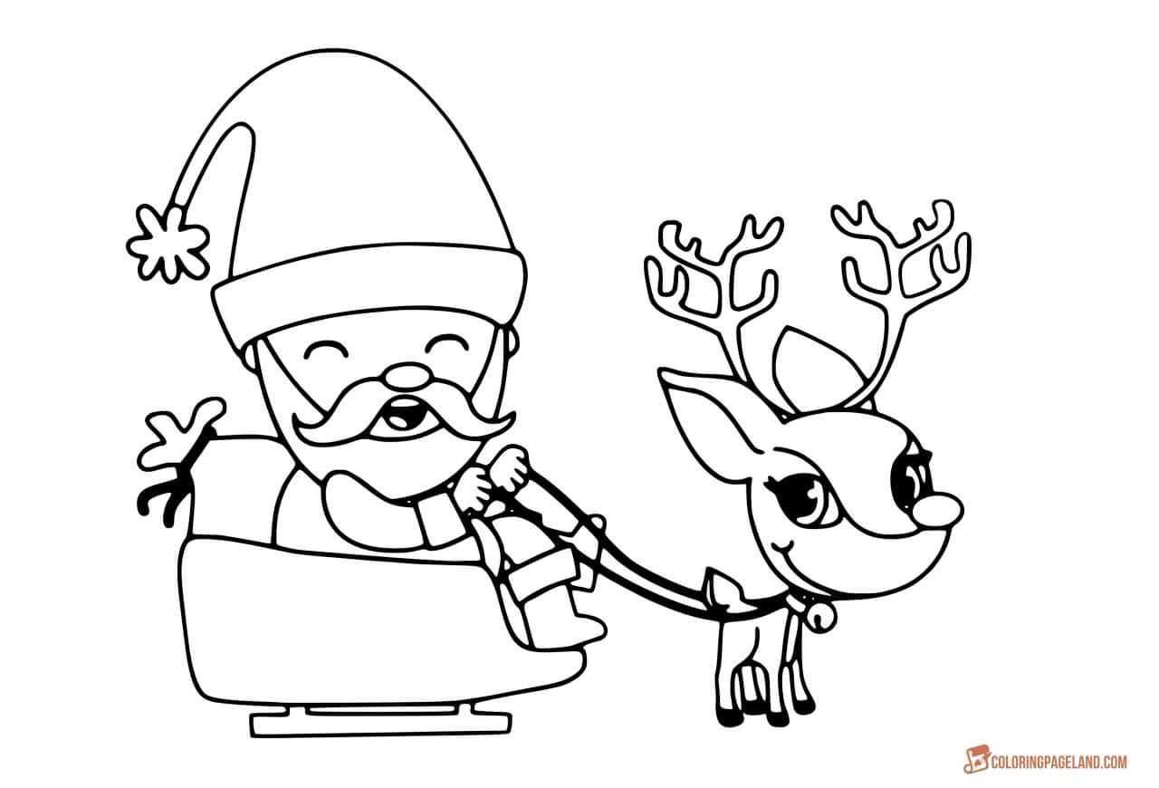 Santa And His Reindeer Coloring Pages At Getcolorings