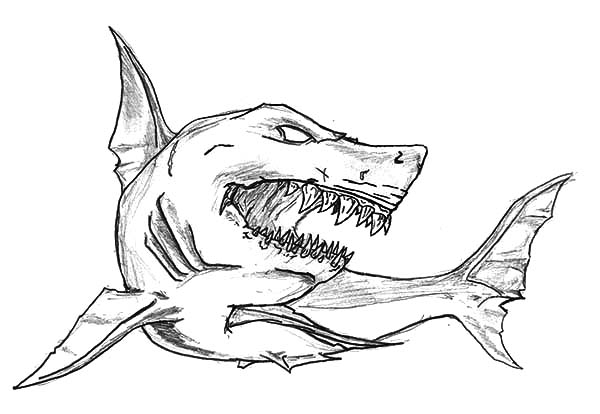 Scary Shark Coloring Pages At Getcolorings Com Free Printable
