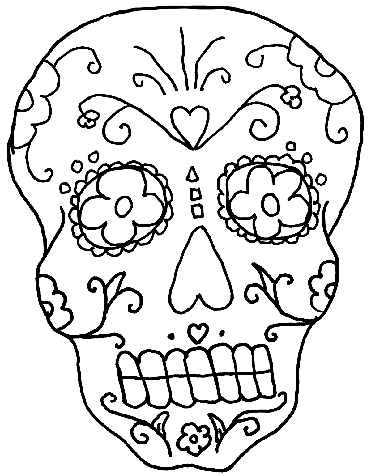 Skeleton Face Coloring Page At Getcolorings