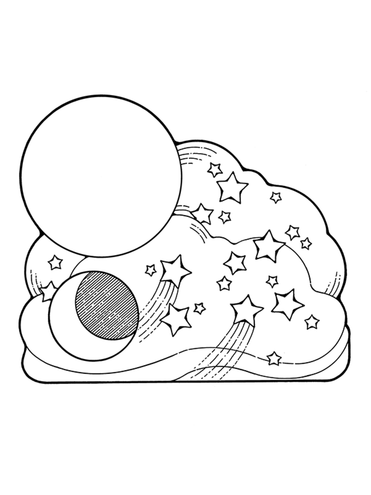 Sun Moon Stars Coloring Pages At Getcolorings