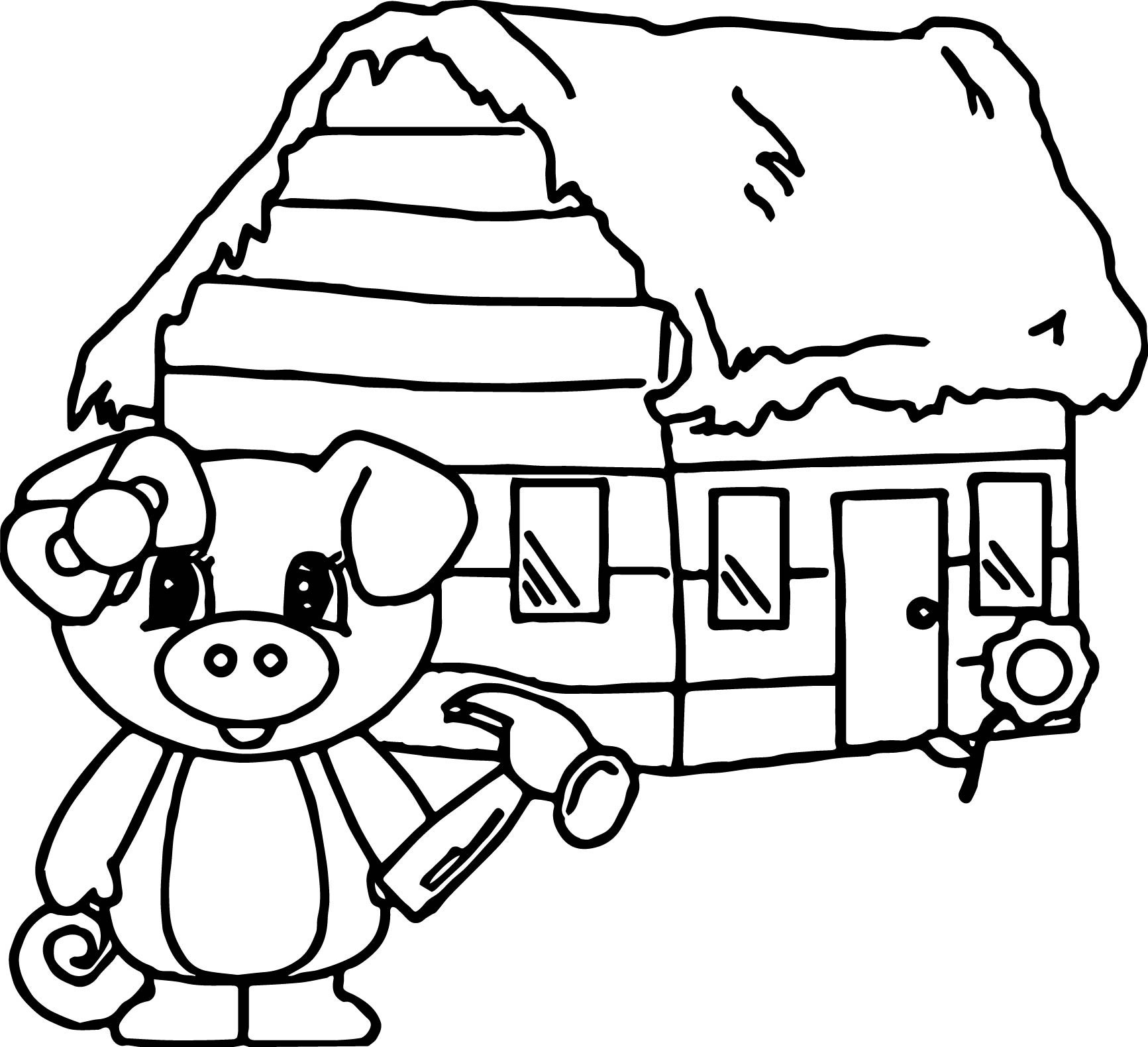 Three Little Pigs Houses Coloring Pages At Getcolorings