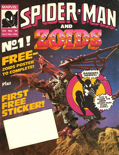 La cover del n. 1 di Spiderman and Zoids