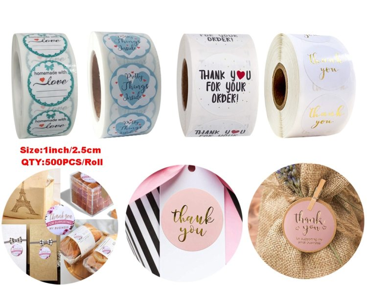 24Types Pink Label Stickers Foil Thank You Stickers 1'' 500pcs Taste Business Order Home Hand Made Labels Wedding Envelope Seals
