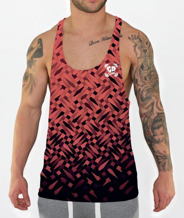 peach mosaic stringer vest front model view