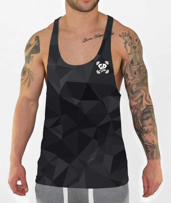 black geometric stringer vest front model view
