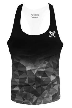 black grey geometric fade stringer vest