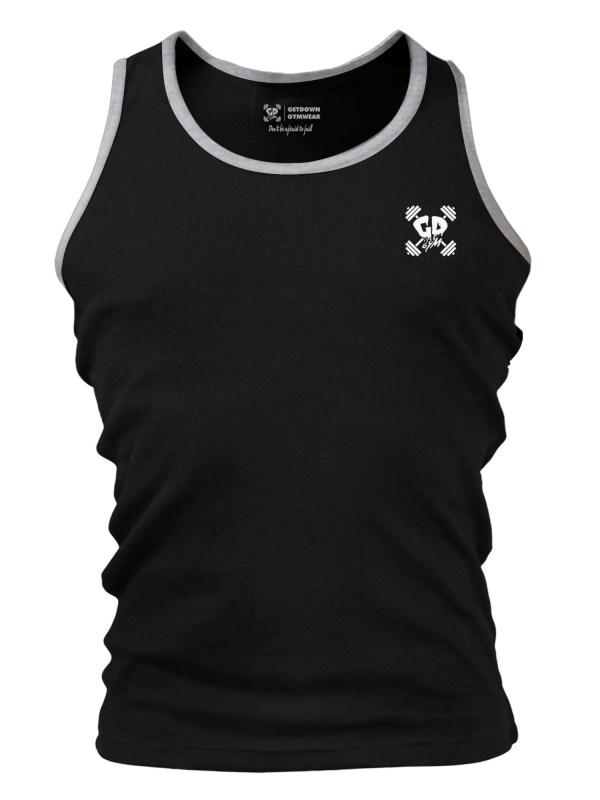 Get Down Logo Fitted Tank Vest Black/Grey Ringer