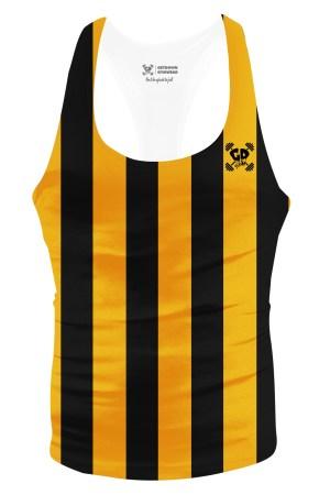gold stripe stringer vest