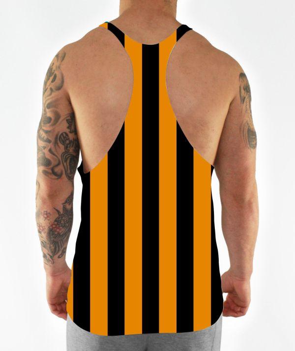 gold stripes stringer vest back model view
