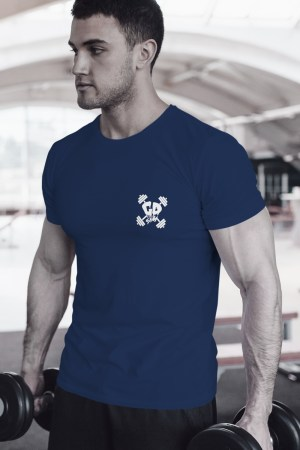 Get Down Logo Fitted Crew Neck T Shirt Navy