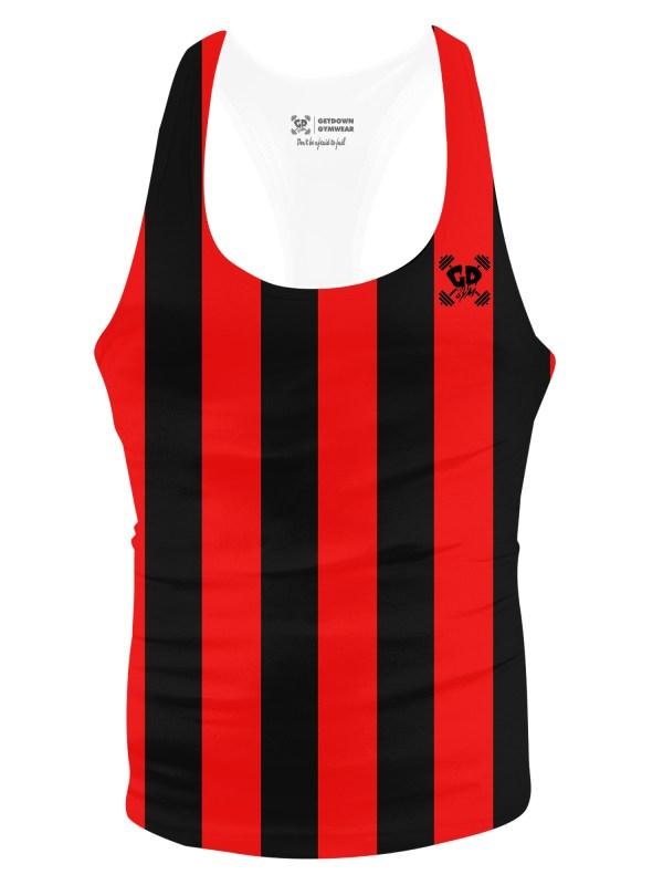 red stripe stringer vest