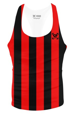 red stripe stringer vest