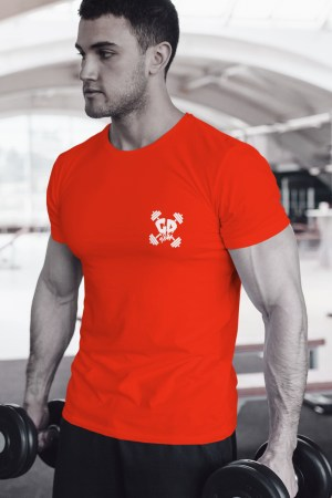 Get Down Logo Fitted Crew Neck T Shirt Red