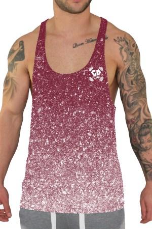 burgundy speckle stringer vest