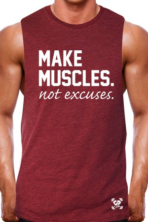 muscle tank rugged heather cardinal