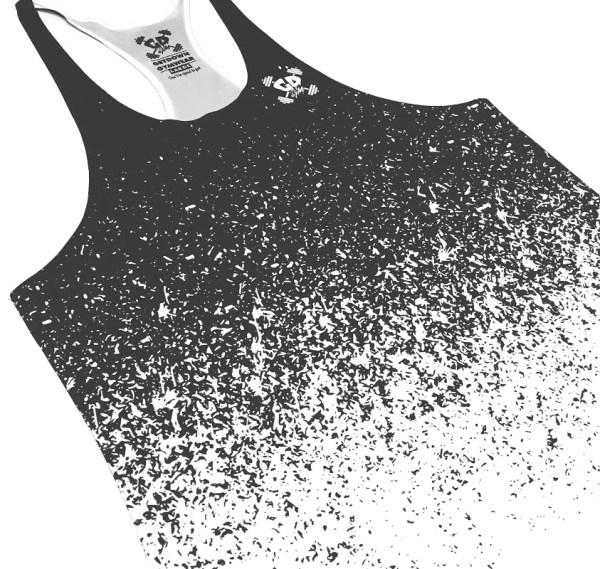 speckle black fade stringer vest