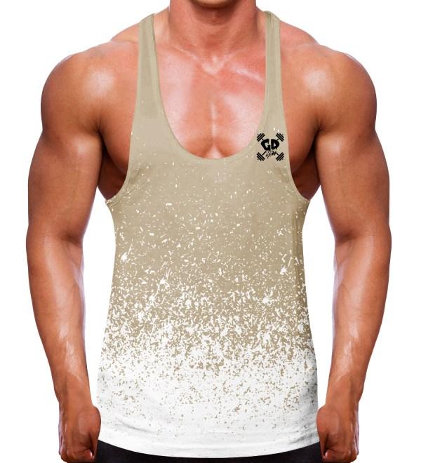 Gradient Speckled Sand White Stringer Vest