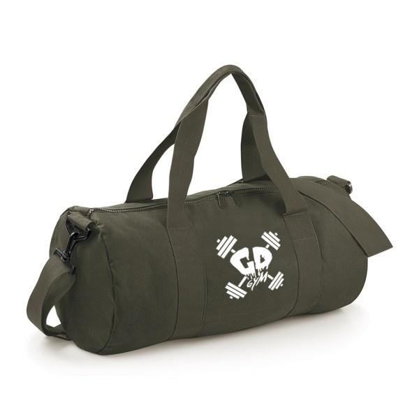 military white logo gym bag