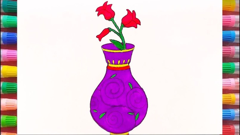 Flower pot drawing color