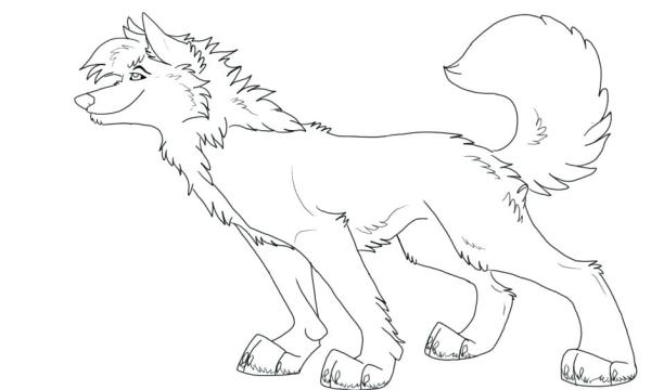 anime wolf coloring pages # 20