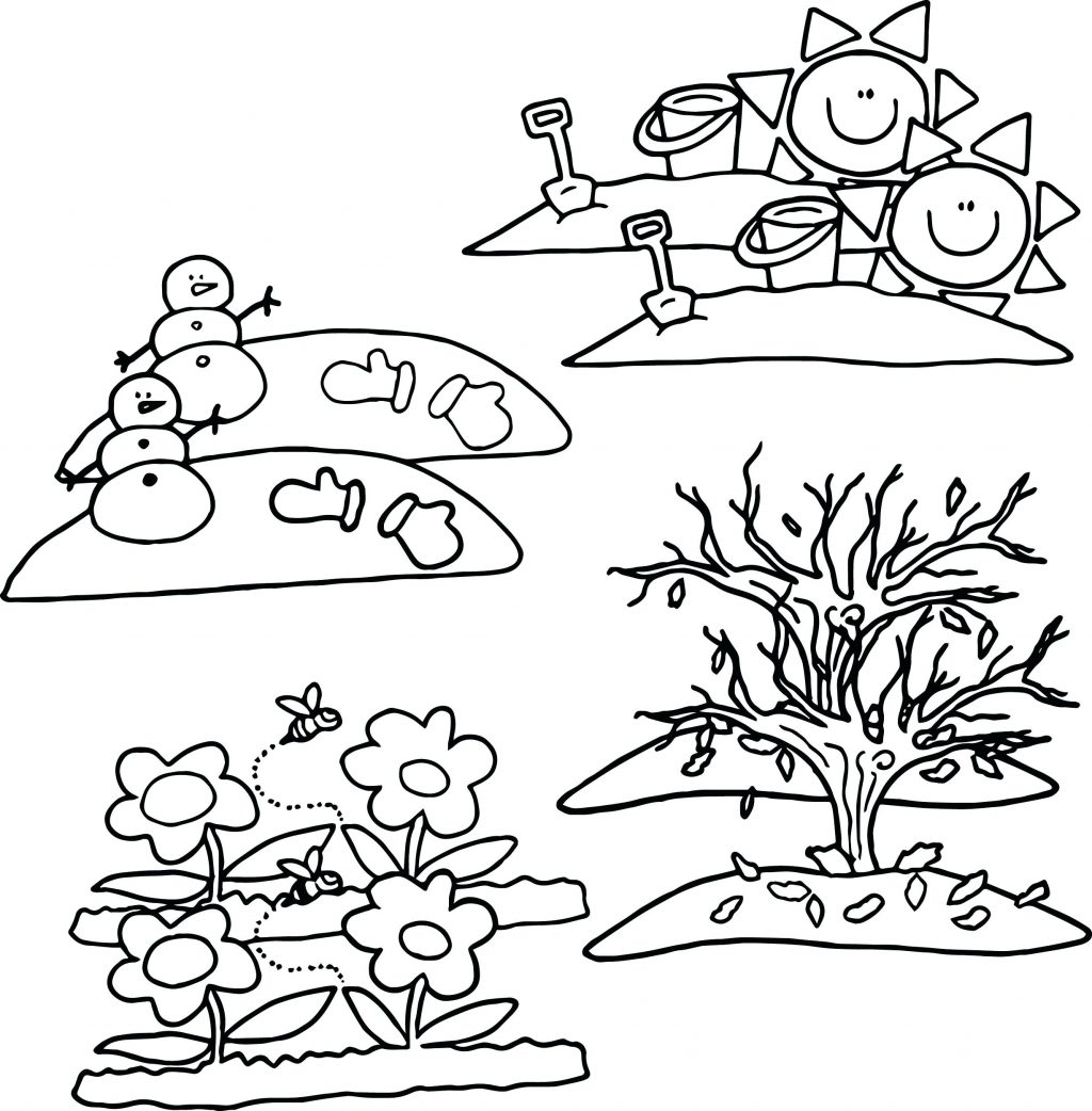 Four Seasons Coloring Pages For Kindergarten At