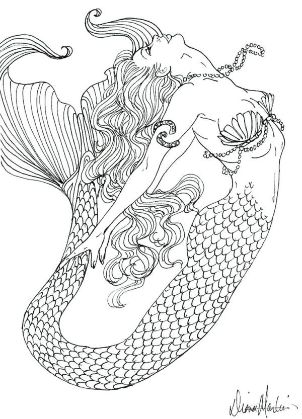 free mermaid coloring pages # 74